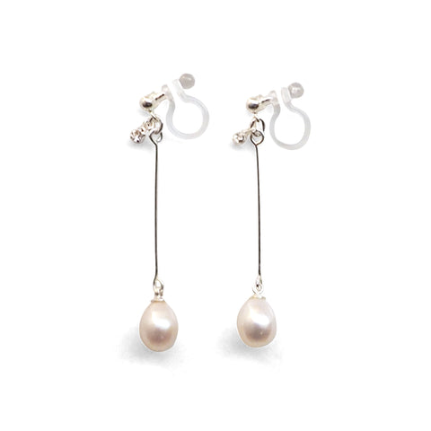 White Teardrop Freshwater Pearl Invisible Clip On Earrings (Silver tone) - Miyabi Grace