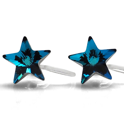 Bermuda Blue Star Swarovski crystal invisible clip on stud earrings - Miyabi Grace