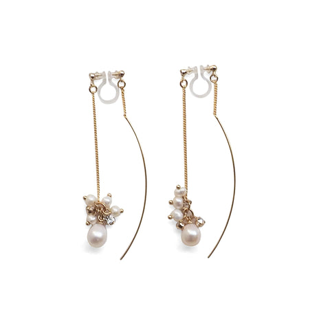 Double Sided White Freshwater Pearl Invisible Clip On Earrings (Gold tone) - Miyabi Grace