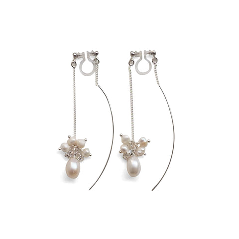 Double Sided White Freshwater Pearl Invisible Clip On Earrings (Silver tone) - Miyabi Grace