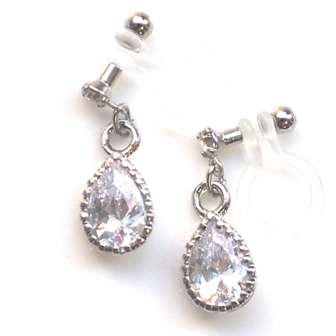 comfortable pierced look bridal wedding dangle silver teardrop cubic zirconia cz crystal invisible clip on earrings MiyabiGrace 夾耳環 ノンホールピアス 夾式耳環 1