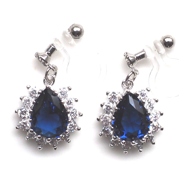 Teardrop navy blue cubic zirconia invisible clip on earrings ( silver tone ) - Miyabi Grace