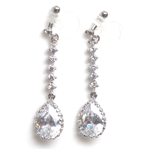 "<img src=""comfortable bridal wedding dangle drop silver cz crystal invisible clip on earrings MiyabiGrace2"" alt=""comfortable bridal wedding dangle drop silver cz crystal invisible clip on earrings MiyabiGrace2""/>"