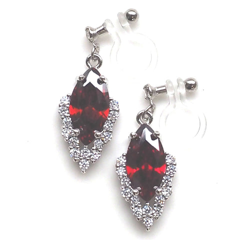 Bridal red cubic zirconia invisible clip on earrings ( silver tone ) - Miyabi Grace