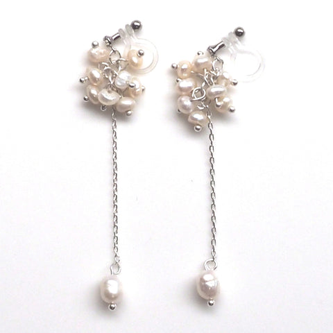 Dangle freshwater pearl invisible clip on earrings - Miyabi Grace