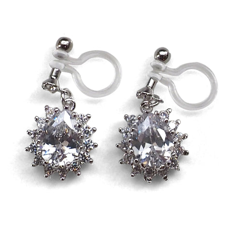 "<img src=""comfortable pierced look bridal wedding dangle silver cubic zirconia cz crystal teardrop invisible clip on earrings MiyabiGrace 夾耳環 イヤリング 夾式耳環 3"" alt=""comfortable pierced look bridal wedding dangle silver cubic zirconia cz crystal teardrop invisible clip on earrings MiyabiGrace 夾耳環 イヤリング 夾式耳環 3""/>"