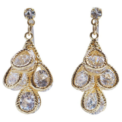 comfortable pierced look bridal wedding dangle gold cubic zirconia cz teardrop crystal invisible clip on earrings MiyabiGrace 夾耳環 ノンホールピアス 夾式耳環 1