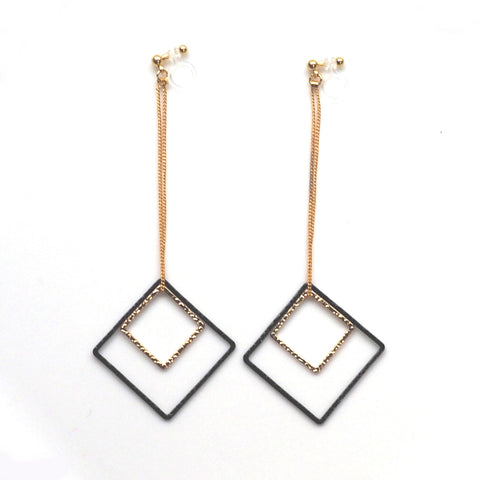 Long gold and black square metal invisible clip on earrings - Miyabi Grace