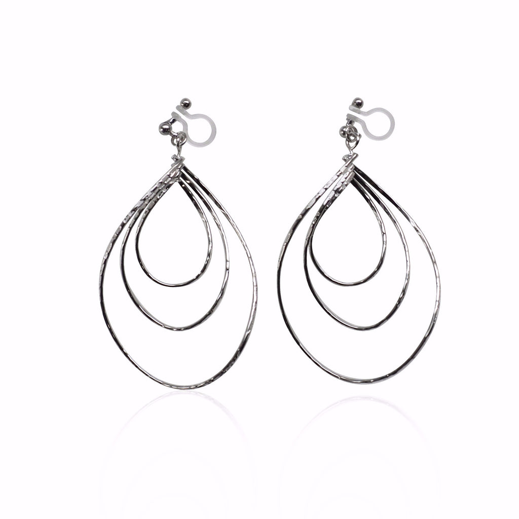 comfortable pierced look dangle silver large triple teardrop hoop invisible clip on earrings MiyabiGrace 夾耳環 ノンホールピアス 夾式耳環 1