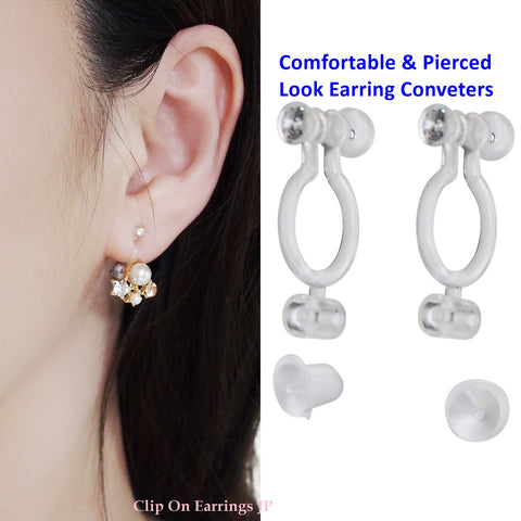 Best seller!  2 pairs of Pierced look and comfortable invisible clip on earring converters - Miyabi Grace
