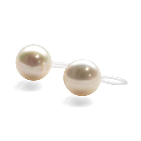 8 mm Freshwater pearl invisible clip on stud earrings