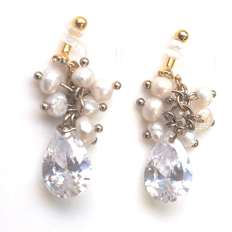 Freshwater pearl and cubic zirconia invisible clip on earrings - Miyabi Grace