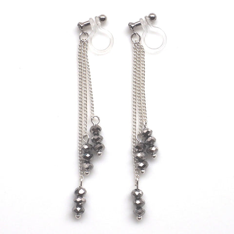 Metallic black beads invisible clip on earrings - Miyabi Grace
