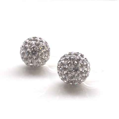 Rhinestone pave ball invisible clip on earrings - Miyabi Grace