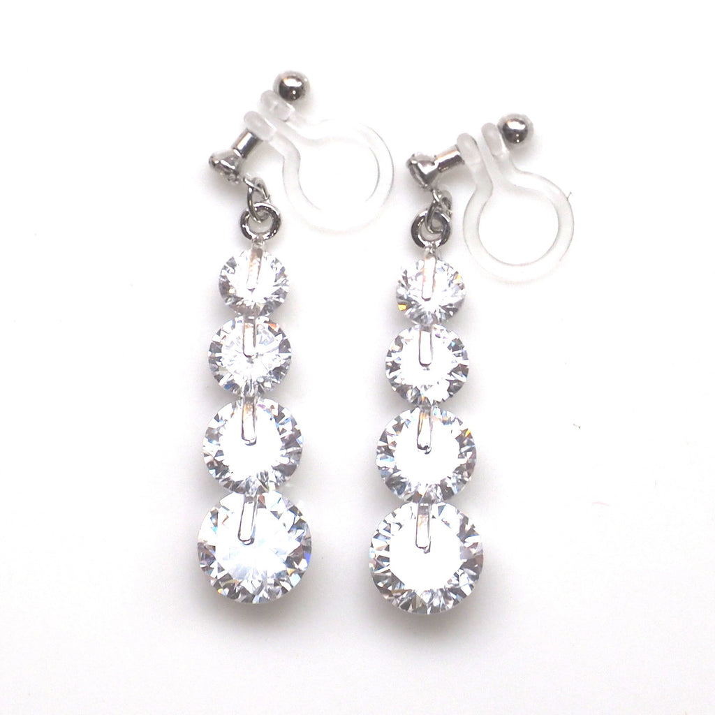 comfortable pierced look bridal wedding dangle silver gradated cubic zirconia cz crystal invisible clip on earrings MiyabiGrace 夾耳環 ノンホールピアス 夾式耳環 1