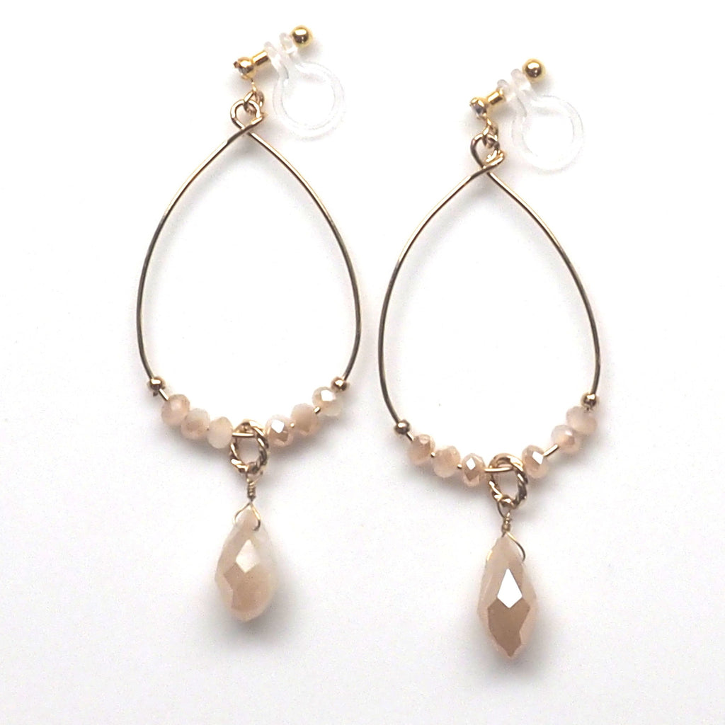 Ivory beads invisible clip on hoop earrings - Miyabi Grace