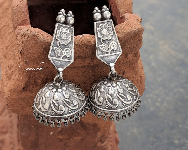 German silver flower jhumkas - Anicha