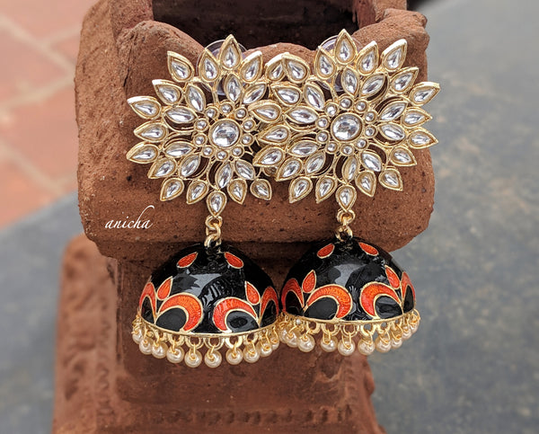Enamel polki jhumkas (Colours available) - Anicha