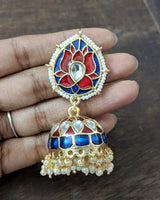 Enamel lotus jhumkas (Colours available) - Anicha