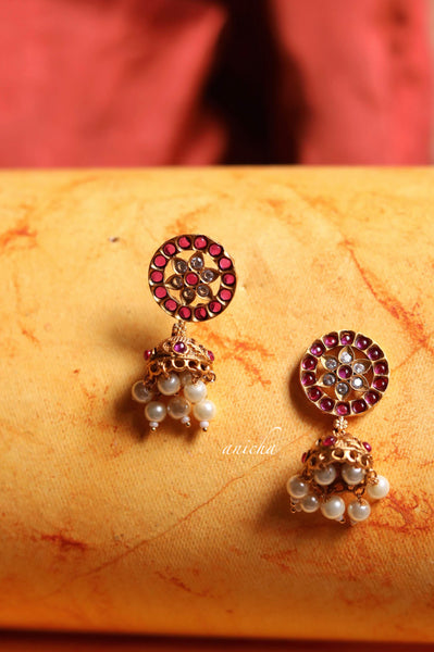Small antique ruby jhumkas - Anicha