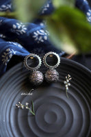 Oxidized silver halo earrings - Anicha