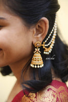 Matte gold jhumkas with ear chain - Anicha