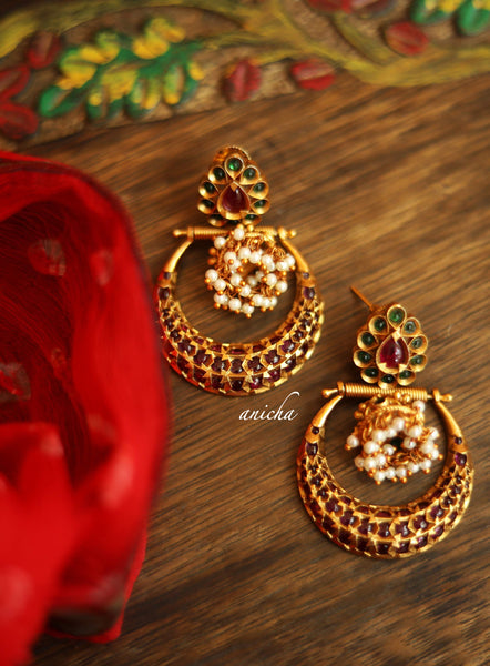 Antique gold jhumka chandbalis
