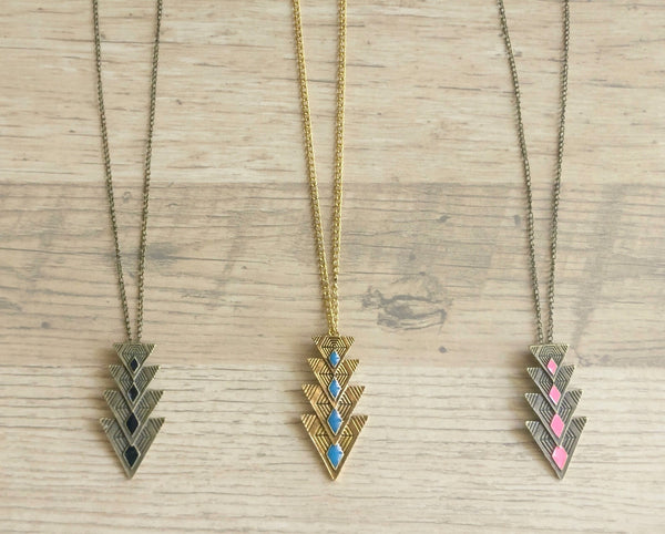 Antique gold arrow pendant chain - Anicha