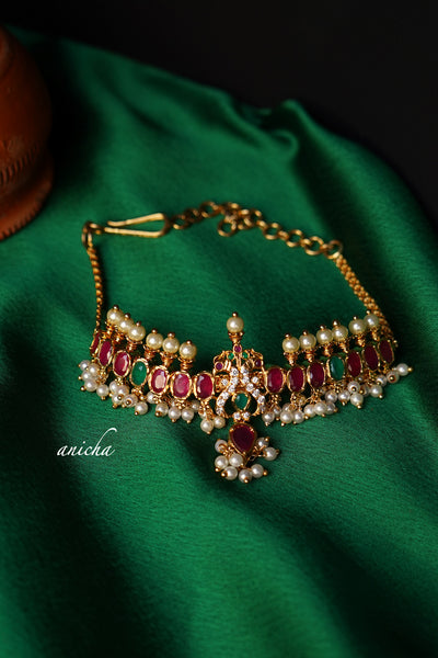 Ruby-green mini choker