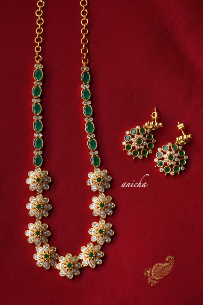 Flower stone necklace set - Emerald