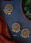 Round polki earrings tikka set - Anicha