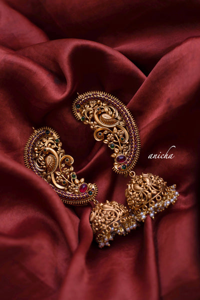 Antique peacock cuff jhumkas - Anicha