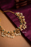 Stone pearls necklace set (Colours available) - Anicha