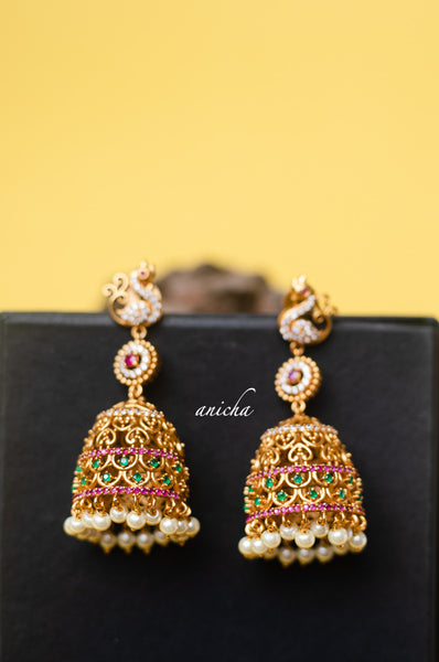 Ruby-green cutwork jhumkas