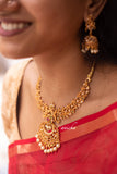 Ruby-green cutwork necklace set - Anicha
