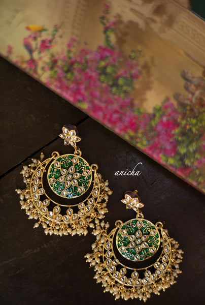 Kundan flower chandbalis (Colours available) - Anicha