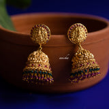 Antique temple jhumkas - Ruby-green