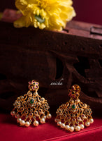 Ruby-green flower earrings