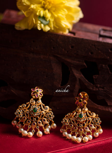 Ruby-green flower earrings - Anicha