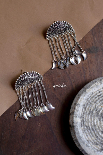 Oxidized silver tassel earrings - Anicha
