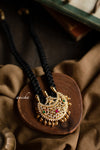 Black thread moon necklace