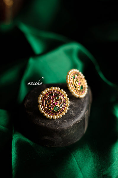Ruby peacock studs