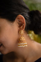 Antique temple jhumkas - Pearl