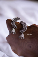 German silver moon jhumkas - Anicha