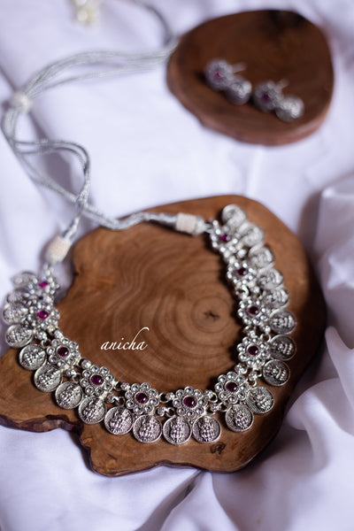 Stone coin necklace set - Silver - Anicha