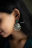 German silver peacock chandbalis - Emerald