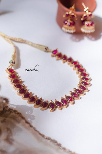 Simple stone necklace set - Ruby - Anicha