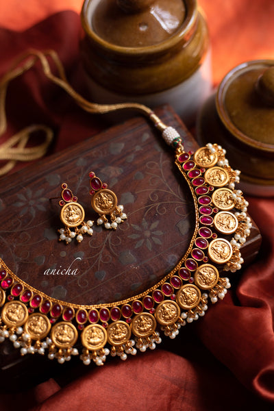Matte ruby coin necklace set - Anicha