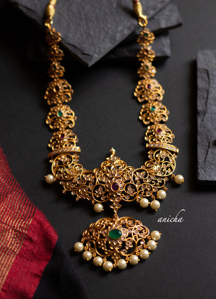 White stone cutwork necklace set - Anicha
