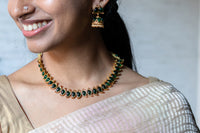 Simple stone necklace set - Emerald - Anicha